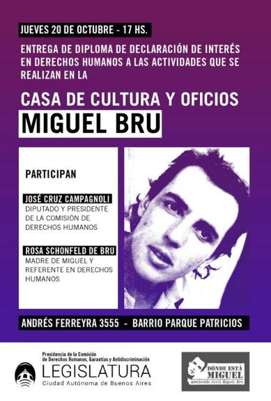 La Casa de Cultura y Oficios Miguel Bru declarada de interés para la promoción y defensa de los derechos humanos