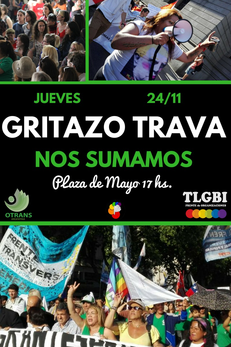 Otrans La Plata se suma al Gritazo Trava contra las distintas formas de violencia que sufre el colectivo TLGBI