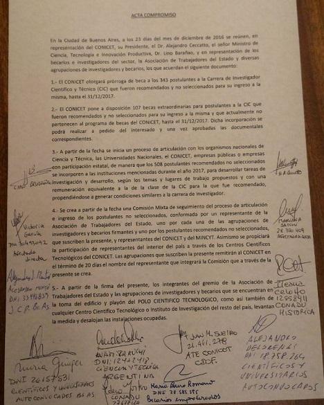Acta acuerdo firmada entre los trabajadores y Barañao.