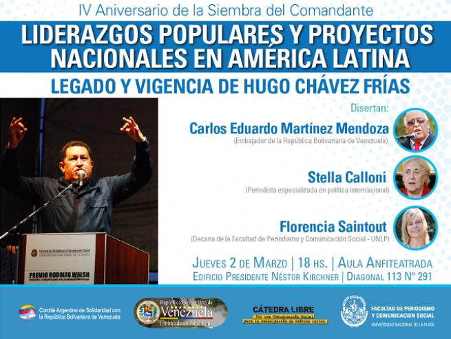 Periodismo de la UNLP homenajeará a Hugo Chávez Frías