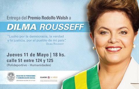 Florencia Saintout y su voz al frente con las mujeres que luchan, galardonará a Dilma Rousseff con el premio Rodolfo Walsh