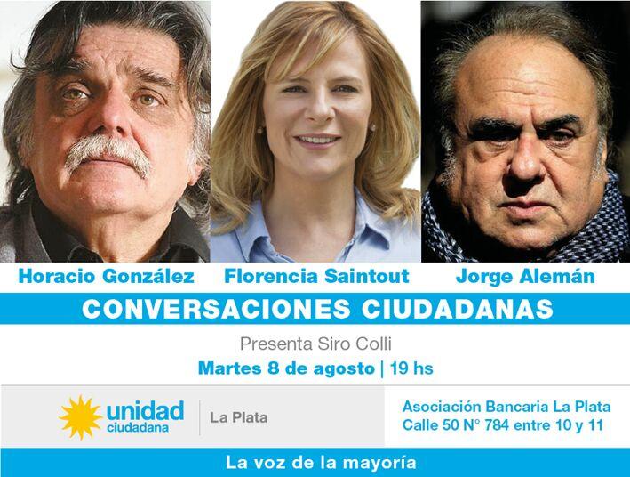 Florencia da comienzo al ciclo de Charlas Ciudadanas: la acompañan Horacio González y Jorge Alemán