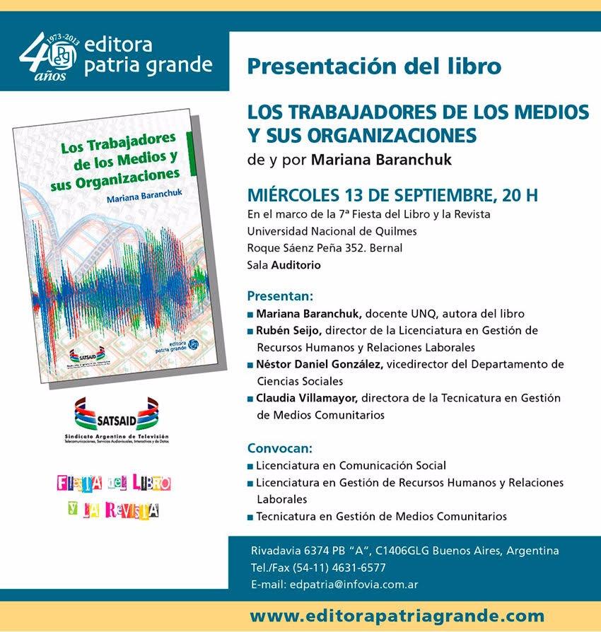 """El libro """"Trabajadores de los medios y sus organizaciones"""" será presentado en la Universidad de Quilmes"""