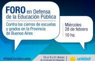 El Foro en Defensa de la Educación Pública en Diputados bonaerenses tratará el ya masivo cierre de aulas