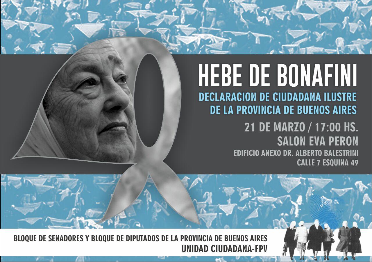 Para que Hebe de Bonafini sea ciudadana ilustre de la provincia de Buenos Aires