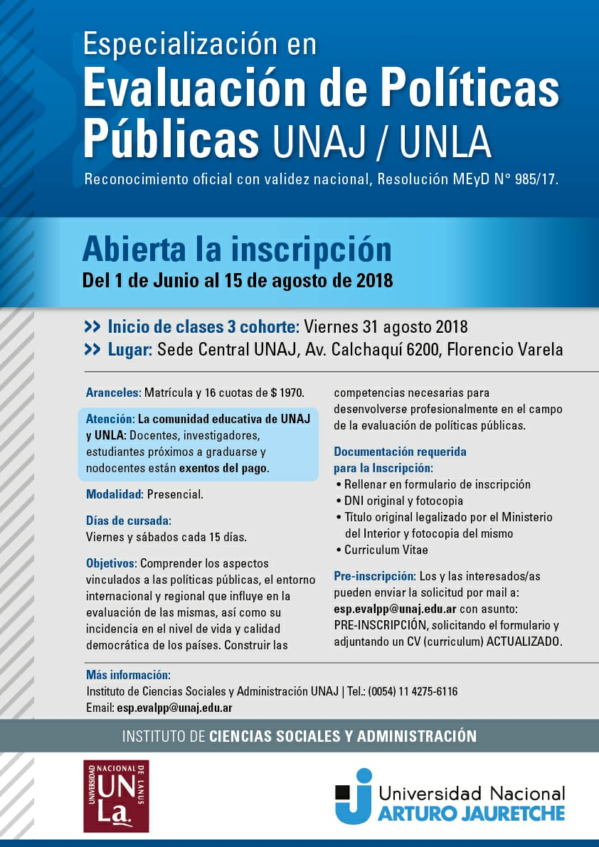Lanzan la especialización en Evaluación de Políticas Públicas en las universidades de Lanús y Jauretche