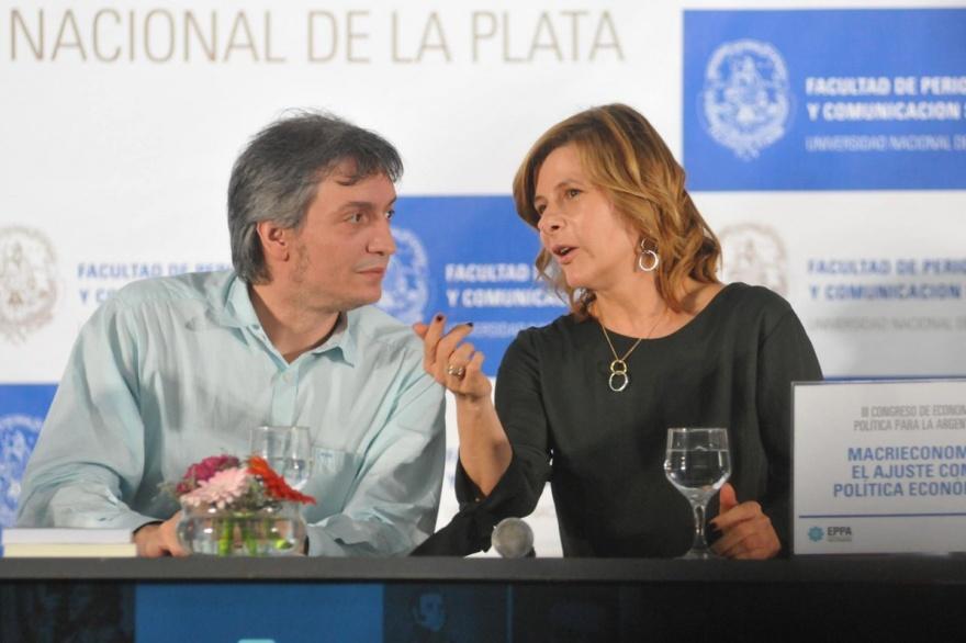 Florencia Saintout y Máximo Kirchner juntos en la primera jornada del III Congreso de Economía Política para la Argentina