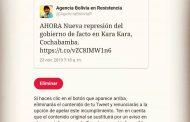 Twitter censura a la Agencia Bolivia en Resistencia (ABR)